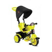 Tricicicleta evolutiva si ultrausoara,cu maner parental,consola muzicala si pedale pliabile-Negru cu galben