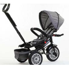 Tricicleta Multifunctionala si Evolutiva,8-36 luni,Scaun rotativ 360 grade,Pozitie de somn,ROATA GONFLABILA-Gri