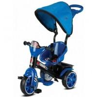 Tricicicleta evolutiva si ultrausoara,cu maner parental,consola muzicala si pedale pliabile-Albastra