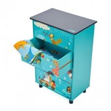 Comoda pentru copii cu 4 sertare, Explore the universe, Culoare Turcoaz