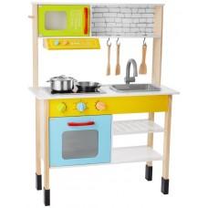 Bucătărie de joacă,din lemn,cu jucarii incluse,30 x 70 x 91 - 95 cm